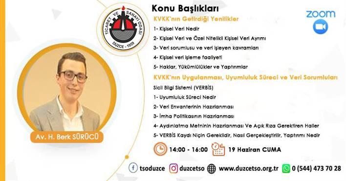 KVKK Kapsamında İşletmelerin Sorumlulukları ve Uyum Sürecinin Yönetilmesi bilgilendirme semineri